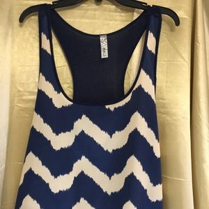 Bella D. Navy & cream Chevron racerback tank top